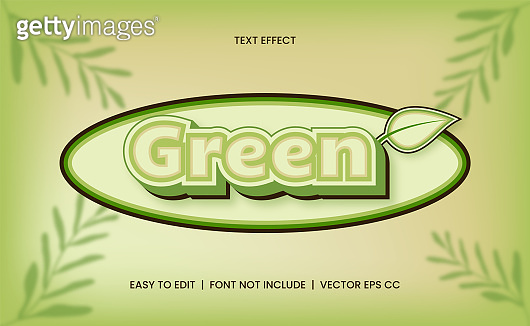 Editable text effect with Nature Green color
