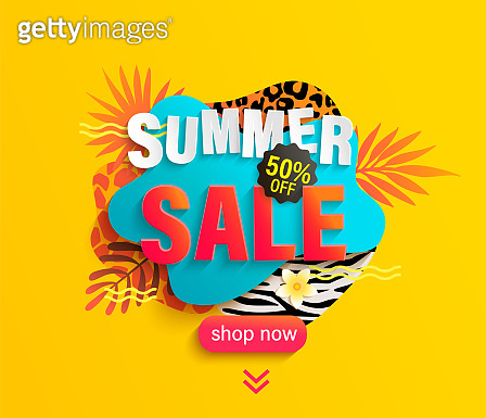 Summer Sale banner for hot season with animal print.