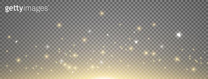 Sun light with sparkle on long banner. Gold sunrise effect on transparent background. Magic lens flare. Glitter star flash. Bright sky. Spotlight design. Christmas decoration. Vector illustration