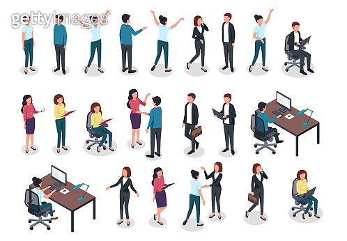 Isometric people. Men and women in business and casual clothes, office worker various postures in workspace. 3d isolated vector characters