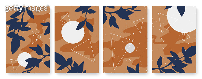 Abstract night moon and nature leaves set, template background for social media stories