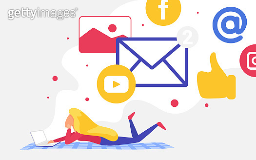Social media network communication, woman communicating via tweets messages emails likes