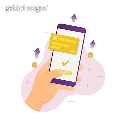 People sending money with mobile phone through payment app