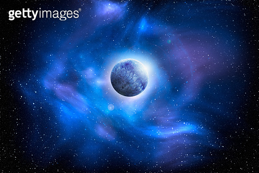 Unknown planet from outer space. Space nebula. Cosmic cluster of stars. Outer space background. 3D Illustration
