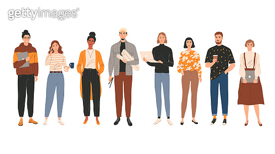 Group portrait of young creative people professionals