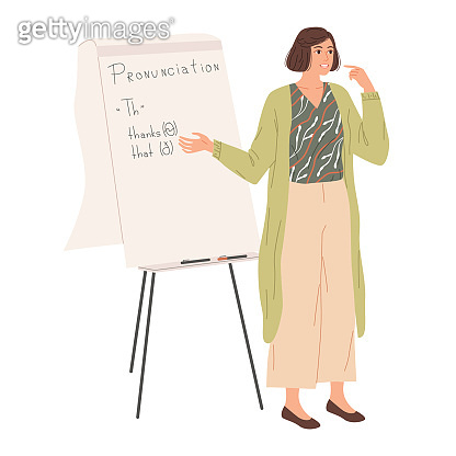 The English teacher shows how to pronounce the th sound . Foreign language lesson