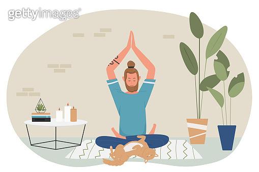 Yoga meditation at home, cartoon yogist character sitting in lotus position, meditating