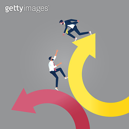 Helping each other to climb arrow of success-Business teamwork concept
