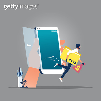 Mobile hacker and cyber security concept-Steal personal data from mobile