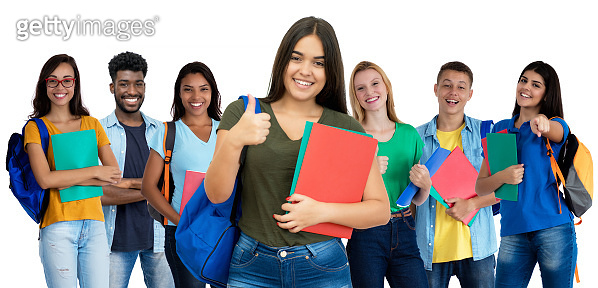 Successful spanish female student with group of international students