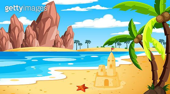 Tropical beach landscape at daytime scene