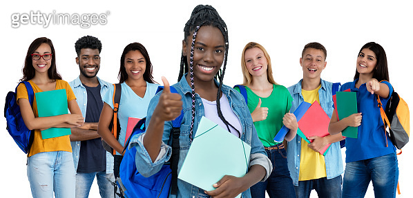 Successful afro american female student with group of international students