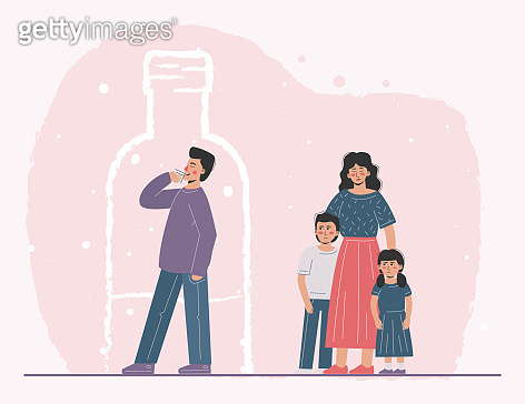 The father is an alcoholic who escaped into addiction. Suffering co-dependent wife and children. Problems in family relations.