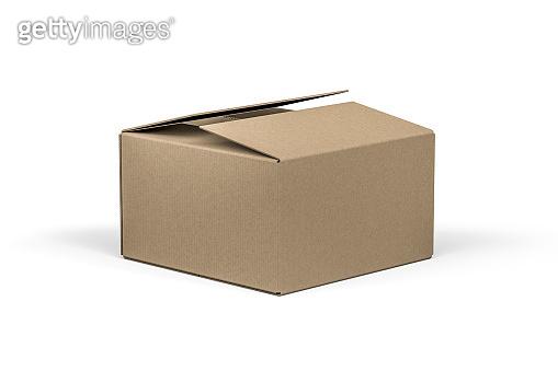 Open cardboard box mockup