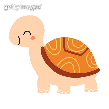 Cute Adorable Turtle, Exotic Tropical Fauna Design Cartoon Vector Illustration