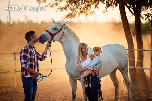 Family on a horse ranch. People have a fun with a horse.