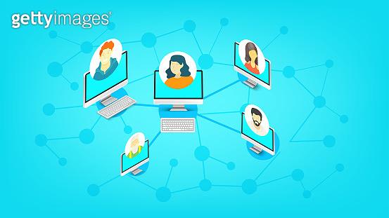 Abstract scheme of modern social media network. Isometric vector illustration