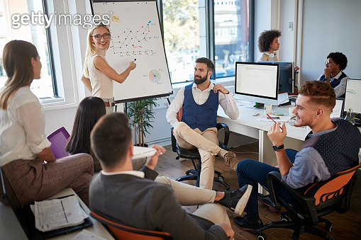 young business woman showing plan on whiteboard to coworkers . business brief concept