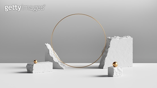 3d render, abstract background with white cobblestone blocks and blank golden round frame. Modern minimal showcase for product display