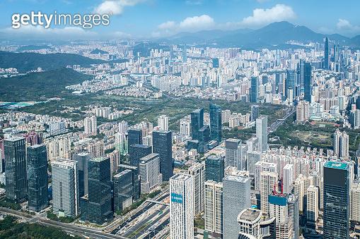 Aerial photography of Shenzhen city architecture landscape skyline