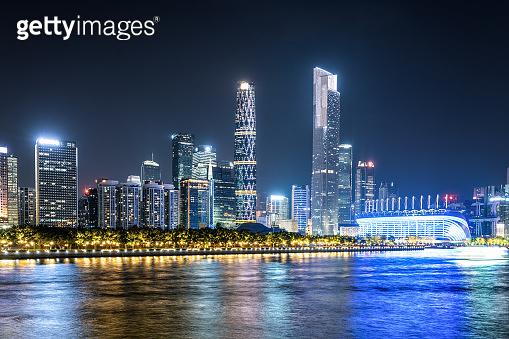 Aerial photography of the night view of Guangzhou Zhujiang New Town