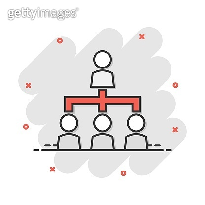 Vector cartoon people corporate organization chart icon in comic style. People cooperation concept illustration pictogram. Teamwork business splash effect concept.