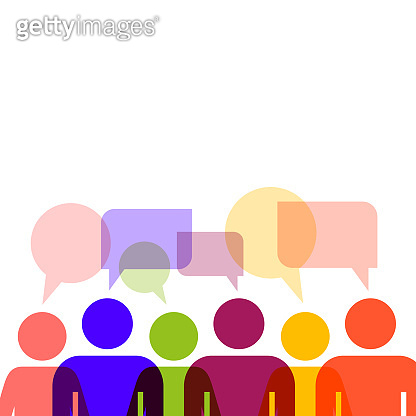 Speech bubble people group. Flat style vector illustration isolated on white