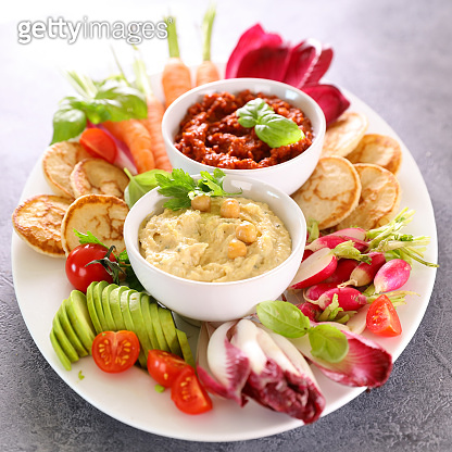 vegetables and dips- hummus and vegetables