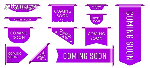 Sale tag ribbon coming soon promotion announcement set. Purple realistic three-dimensional badge