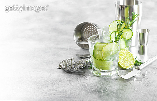Fresh cold drink cucumber lime rosemary ice