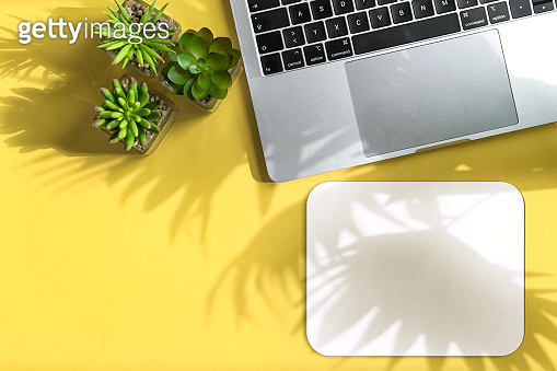 Home office workplace flatlay Notebook mouse pad