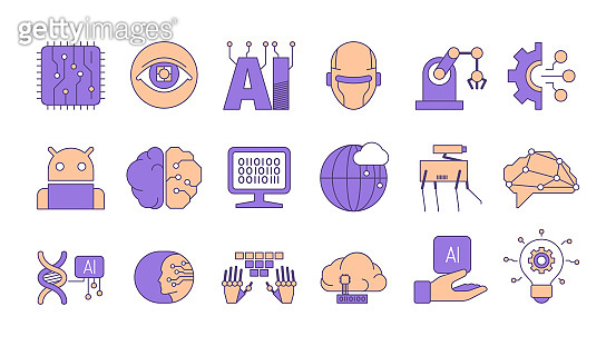 Artificial intelligence. Human innovation future smart technology connection android and human garish marketing vector concept pictures