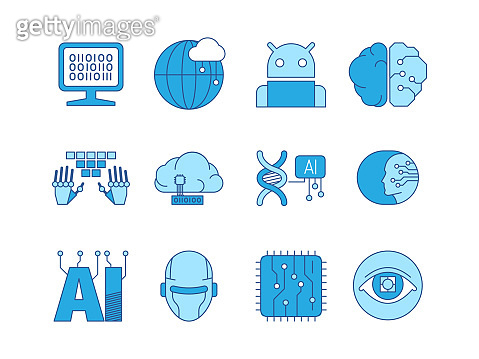 Artificial intelligence icon. Innovation smart systems engineering creative science programming robotic head network connection human and android garish vector collection