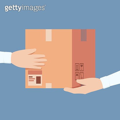 Box in hands. Shipping packages delivery containers in hand postal symbols garish vector concept