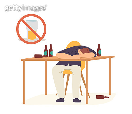 Alcoholism Concept. Drunk Man Hangover Syndrome due to Alcohol Addiction. Male Character Sleeping on Table with Bottles