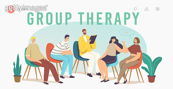 Group Therapy Addiction Treatment Landing Page Template. Characters Counseling Psychologist on Psychotherapist Session