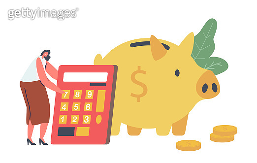 Tiny Female Character Online Tax Payment, Woman with Huge Calculator, Dollar Coins, Piggy Bank. Finance Budget Planning