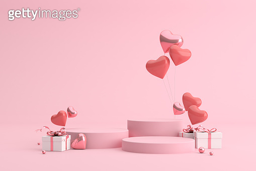 Mock up podium of gift box with balloons in heart shape. 3d rendering.