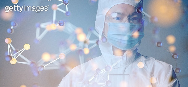 Scientist PPE suit study research science technology innovation virus vaccine molecule chemistry physic biology futuristic background interface, Asian doctor using computer processing data.
