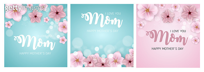 Spring and Summer flowers bright background. Happy Mother's Day poster set. Vector Illustration