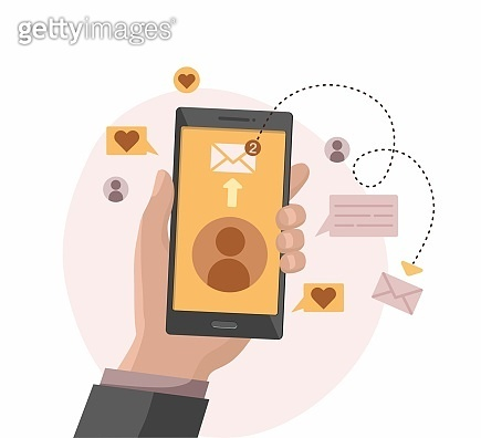 Hand holding smart phone. Social network connection