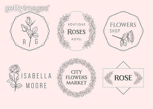 Luxury flower rose emblems set in trendy linear style 01