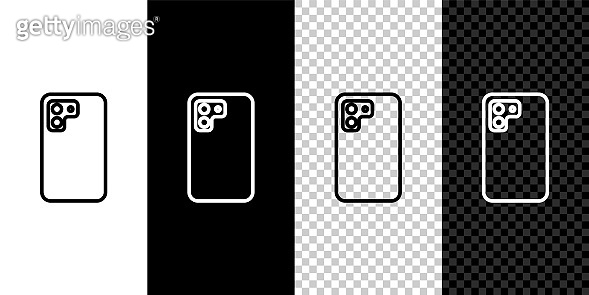Set line Smartphone, mobile phone icon isolated on black and white, transparent background. Vector