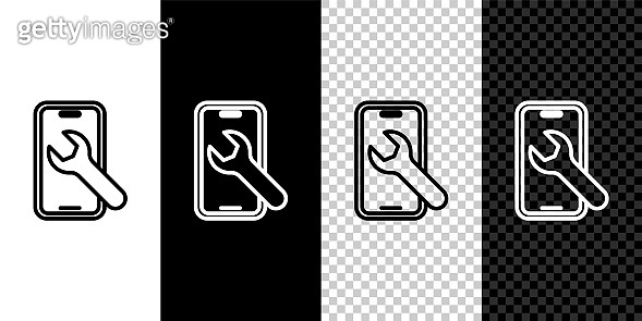 Set line Mobile phone with wrench icon isolated on black and white, transparent background. Adjusting, service, setting, maintenance, repair. Vector