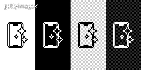 Set line Glass screen protector for smartphone icon isolated on black and white, transparent background. Protective film for glass. Transparent soft glass for mobile phone. Vector