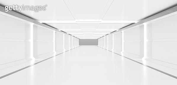 Futuristic Clean Empty Corridor. 3D Render