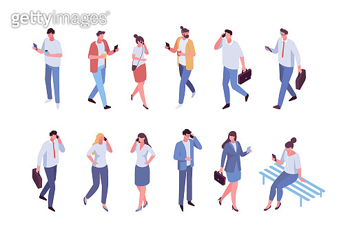 Isometric people Phone talking. Communication. Vector male and female characters with smartphones isolated on white background