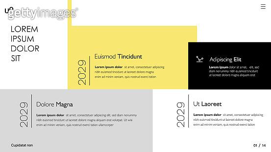 Presentation and slide layout template.  Slide from set №2
