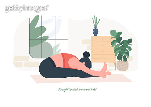 Straight Seated Forward Fold Yoga pose. Young woman practicing yoga  exercise.