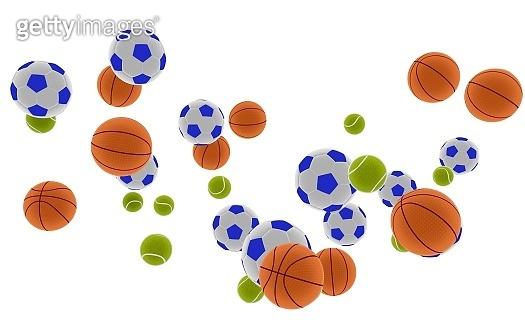 3D illustration of balls from various sports, soccer, basketball, tennis.